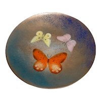 Original Vintage 1950s Signed Lily & Paul Alexander Modern Midcentury Enamel-on-Copper Art Plate w/ Butterflies California Design!