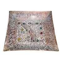 Signed Telesfore Ronzani Original Vintage 1940s/1950s Modern Midcentury Hand-Wrought Enamel-on-Copper Plate that Displays a Handmade Square Copper Form w/ a Christmas-like Design of Pine Branch w/ Colorful Balls & White-Gold Enameling!