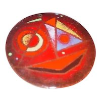 Rare Signed BARNEY REID Modern 1940s Or 1950s Midcentury Abstract Enamel Copper Art Pendant California Design Jewelry