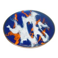 """Signed Original Vintage 1950s/1960s Miniature 3 5/8"""" Modern Midcentury Enamel-on-Copper Plate Created by Canadian Artist Monique Lambert that Displays a Bold Abstract Expressionist Design Rendered in White & Orange Against Cobalt Blue!"""