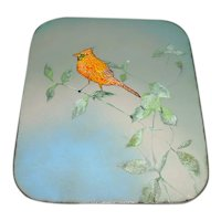 Signed Original Vintage 1970s / 1980s Modern Enamel-on-Copper Art Plaque/Painting Created by Canadian Artist B. E. Eren that Displays a Beautifully Rendered Orange-Red Cardinal Bird Perched on a Branch w/ Leaves & Set Against a White-to-Blue Sky!