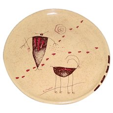 Signed Original Modern Art Pottery Plate Created by Santa Fe, New Mexico Artist Ellen Peebler (1944-2011) at Her Southwest Rock Art Studio that Displays the Artist's Light-Hearted take on Native American Indian Rock Art Drawings w/ Hunter & Antelope!