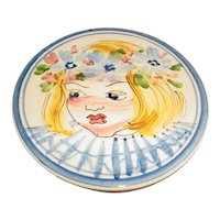 Signed Original Vintage 1950s Modern Midcentury Finnish Round Art Pottery Tile-Trivet-Plaque Made by Kupittaan Savi Oy of Findland that Displays an Underglaze Hand-Painted Portrait of Snarky-Looking Yellow-Haired Little Girl w/ Flowers in Her Hair!