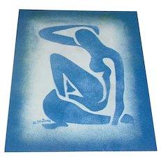 "Original Vintage 1980s Homage to Henri Matisse ""Blue Nude II"" Enamel-on-Copper Plaque / Painting Modern Art Design w/ COA!"