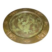 """Signed 11 1/8"""" Original Vintage 1960s / 1970s Modern Bronze & Brass Mixed-Metal Plate Created by Mexican Artist Enrique Zavala Aguilar (1935-) that Displays Four (4) Lion's Head Medallions Around the Outer Rim and a Distressed Green Verdigris Patina!"""