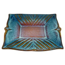 """Signed 12"""" X 9 ¾"""" Modern High-Fired Studio Art Pottery / Porcelain Tray Created by Bill Campbell at his Campbell Studios Located in Cambridge Springs, Pennsylvania that Displays a Rectangular Shape w/ Raised Ribbing & Beautiful Blue-to-Brown Glaze!"""