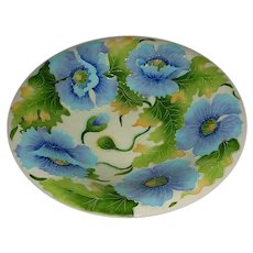 """15 ¼"""" Signed Modern Cloisonne-Style Art Pottery Bowl Designed by Jeanette McCall (1956-) as Part of Her """"Icing On The Cake"""" Line Made by Blue Sky Clayworks of Ontario, California that Displays a Neo Art Nouveau Design of Blue, Purple, & Green Flowers"""