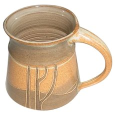 Original Vintage Hand-Thrown Modern Studio Art Pottery Mug Created by California Artist Denah Griffiths (b. 1937-) that Displays a 360-Degree Minimalist Rolling Hills Landscape / Student of Marguerite Wildenhain at Pond Farm in Guerneville!