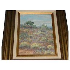 "Framed Original Signed Wilma Groom Modern Western Desert Landscape Painting Titled ""Native Flora"" Stockton Art League, California Artist"