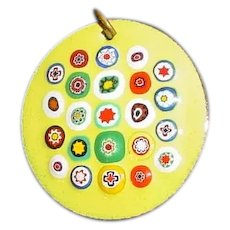 Original Vintage 1960s / 1970s Handmade Modern Midcentury Enamel-on-Copper Circular Pendant Created by an American Artist that Displays Twenty Three (23) Multi-Colored Millefiori Beads / Canes Embedded Into a Yellow Enameled Background!