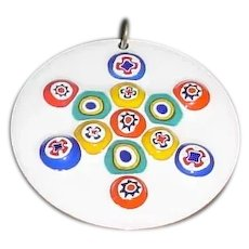 Original Vintage 1960s / 1970s Handmade Modern Midcentury Enamel-on-Copper Circular Pendant Created by an American Artist that Displays Thirteen (13) Multi-Colored Millefiori Beads / Canes Embedded Into a Bright White Enameled Background!
