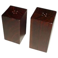 Signed Original Vintage Pair of Mexican Modern Midcentury Design Cocobolo Wood Salt & Pepper Shakers Either Created By or in the Style of Don Shoemaker (1919-1990) that Display Simple Rectangular Columnar Forms Sitting at Different Heights!