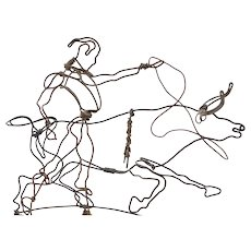 Outstanding Rare Original 1920s or 1930s Modern Art Steel Wire Bullfighter Bull Sculpture Modernist Avant-Garde