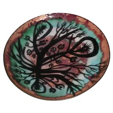"Rare Original Signed Oppi Untracht Modern Midcentury 1950s or 1960s Enamel-on-Copper Bowl or Plate w/ Abstract Black ""Monster"" Design!"