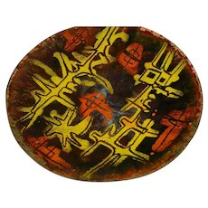 """Rare 10"""" Original Signed Oppi Untracht Modern Midcentury 1950s or 1960s Enamel-on-Copper Bowl or Plate w/ Modernist Yellow and Orange Abstract Design!"""