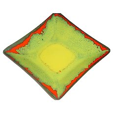 Original Signed Frank Lee Modern 1940s or 1950s Midcentury Enamel-on-Copper Bowl or Plate w/ Yellow, Orange, and Green Abstract Color-Field Design!