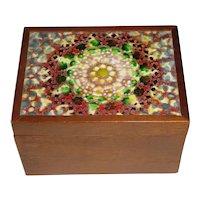 Original Vintage 1960s or 1970s Signed Jane Hammel Modern Enamel-on-Copper & Wood Box w/ Abstract Mosaic-Like Design!