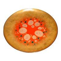"8 ½"" Original Vintage Signed Elizabeth Madley Modern Midcentury Enamel-on-Copper Art Plate w/ Abstract Color-Field California Design!"