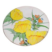 """Outstanding Large 10"""" Original Signed Lilyan Bachrach Modern Enamel-on-Copper Art Plate w/ Robust Yellow Flowers Painting!"""