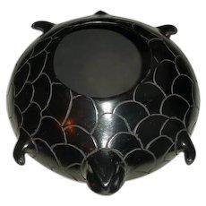 "Original Hand-Built Signed Manuel Quezada Black-Burnished Pit-Fired Studio Art Pottery ""Turtle"" Vase-Vessel From Mata Ortiz / Casa Grandes Mexico!"