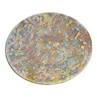 """Large 14"""" Vintage Signed Richard Casey Modern Enamel Art Steel (not copper) Bowl Titled """"Sonata"""" British Modernism"""