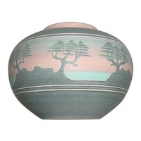 Signed Original John Manka Mankameyer Carved Porcelain Studio Pottery Vase w/ Carved Scenic Carmel California Coast Cypress Trees!