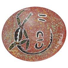 "Original Dated and Signed John Turnbull Modern Australian Studio Art Pottery ""Lizard"" Bowl Aboriginal Painting!"