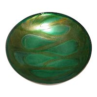 Rare Original Dated 1974 Signed Averill Shepp Modern Enamel-on-Copper Art Bowl w/ Green-on-Green Abstraction California Design!
