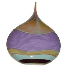 """Large 14"""" Outstanding Signed & Dated Jeff Ballard Modern Carved Studio Art Glass Vase Titled """"Lavender Landscape w/ Carving"""""""