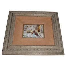 Original Framed Signed Daphné Keskinis Modern Enamel-on-Copper Art Painting-Plaque w/ Old Arizona Western Cowboy & Horse