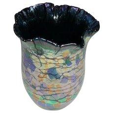 Outstanding Original Signed and Dated Rick Hunter Modern Studio Art Glass Vase Iridescent Oil Spot California Design