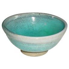 Beautiful Original Hand-Thrown Signed Ben Owen Modern Studio Art Pottery Bowl Dated 1984 w/ Chinese Blue Glaze from Seagrove, North Carolina!