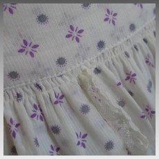 Vintage 1940s Lavender and White Sheer Novelty Print Summer Apron