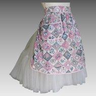 Vintage 1950s Apron Pink Gray White Aqua Novelty Folk Print