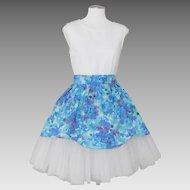 Vintage 1960s Blue Purple Floral Print Cotton Apron