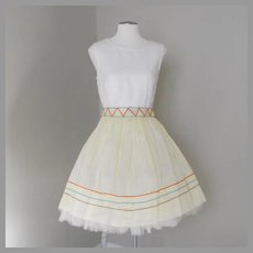 Vintage 1960s Pale Yellow Sheer Apron with Colorful Zig Zag Trim