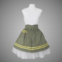 Vintage 1960s Green Yellow Black Print Kitchen Apron