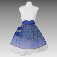 Vintage 1960s Royal Blue Sheer Apron with Contrast Ethnic Print Cotton Apron