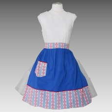 Vintage 1950s Blue Apron with Red White Pink Contrast Abstract Print Waistband and Pocket