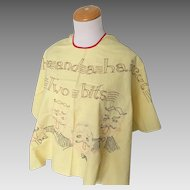 Vintage 1950s Shave and a Haircut Two Bits Barbershop Quartet Embroidered Apron