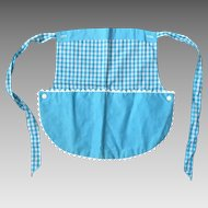 Vintage 1960s Turquoise and White Gingham Apron