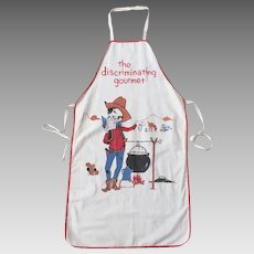Vintage 1950s The Discriminating Gourmet Cowboy Camp Cook Apron