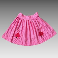 Vintage 1960s Bright Hot Pink and White Gingham Apron