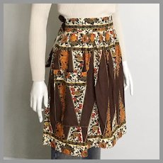 Vintage 1970s Brown Beige Black Gold Red Geometric Floral Batik Print Apron