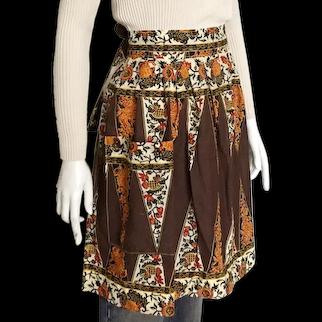 Vintage 1970s Brown Beige Black Gold Red Geometric Floral Batik Print Apron