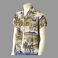 Vintage 1950s Rayon Diamond Head Aloha Print Hawaiian Shirt