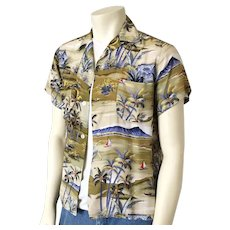 Vintage 1950s Rayon Diamond Head Aloha Print Hawaiian Shirt