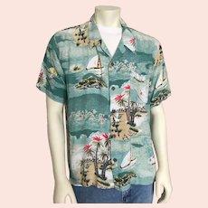 1980s Vintage Teal Green Cream Red Aloha Island Print Hawaiian Shirt XL