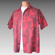 Vintage Early 1990s Red and Black Hibiscus Hawaiian Print Aloha Shirt by O'Neill