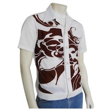 Vintage 1960s Op Art Aloha Tiki Hawaiian Shirt Jac Chocolate Brown White S M